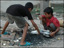 Two boys in a Dhaka street