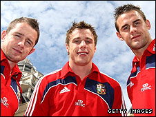 Shane Williams, Tommy Bowe and Lee Byrne pictured together