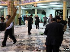 Inside the mosque after the bomb exploded in Zahedan