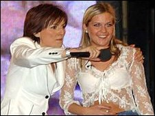 Host Davina McCall with winner Kate Lawler
