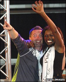 Cameron Stout with 2003 African winner Cherise Makubale