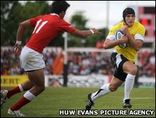 Tom James crosses for his first international try to ease Wales' nerves