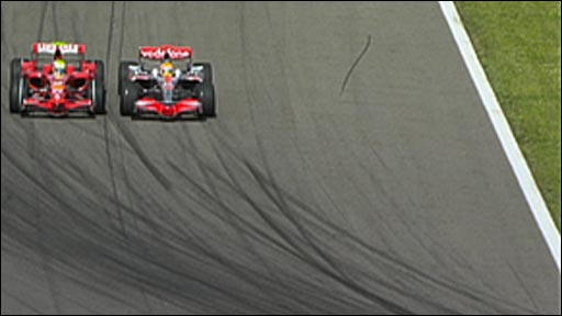 Felipe Massa and Lewis Hamilton go wheel-to-wheel