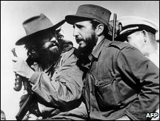 Fidel Castro (right) and fellow revolutionary Camilo Cienfuegos enter Havana victorious, January 1959
