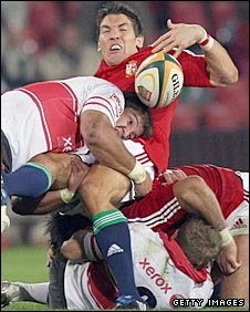 Willem Alberts hammers Lions replacement Jameas Hook in the tackle