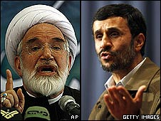 Mehdi Karroubi and President Mahmoud Ahmadinejad