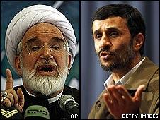 Mehdi Karroubi and President Mahmoud Ahmadinejad