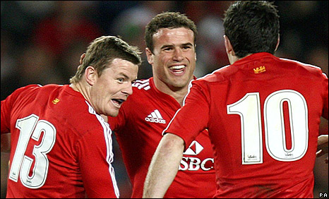Brian O'Driscoll (left) and Jamie Roberts both scored for the Lions