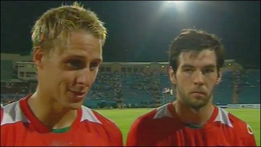 Wales goal-scorer Dave Edwards and captain Joe Ledley