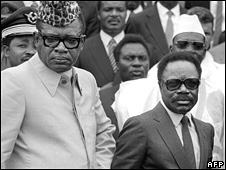Gabonese president Omar Bongo (R) and President of Zaire Mobutu Sese Seko (L) on 10 December 1984