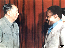 Gabonese President Omar Bongo (L) meets Chinese leader Mao Tse-Tung (R) in Beijing on 15 October 1974