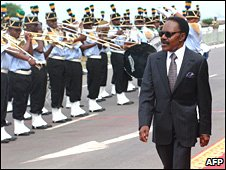 President Omar Bongo Ondimba celebrates his 40th anniversary in power in Libreville on 2 December 2007