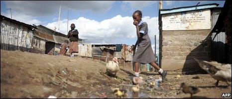 An open sewer Korogocho slum, Kenya