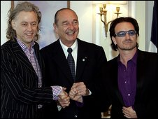 Former French President Jacques Chirac with Bob Geldof and Bono in 2005