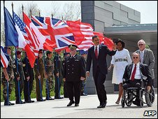 Obama arriving at the Normandy American Cemetery