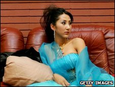 Liu Xiaojing, a transsexual, attends a news conference promoting Miss Plastic Surgery Contest, 2004