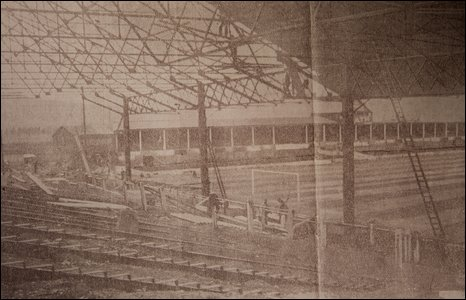 Ninian Park's Grange End being constructed