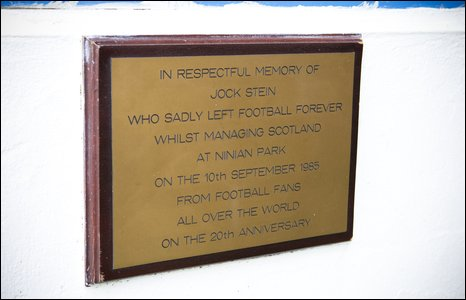 A plaque to commemorate the life and death of legendary Scotland manager Jock Stein
