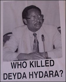 "A poster saying: ""Who killed Deyda Hydara?"""