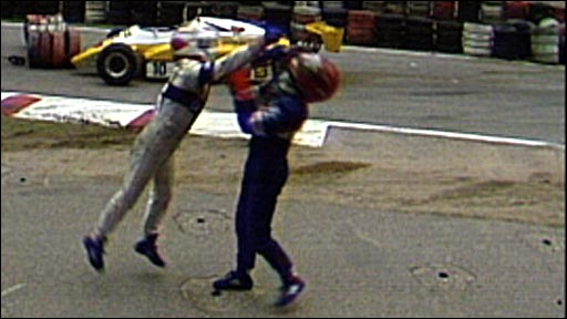 Nelson Piquet clashes with Eliseo Salazar