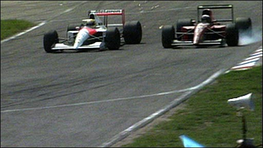Ayrton Senna and Alain Prost do battle