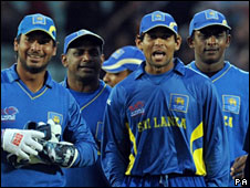 Sri Lanka's players after their win over West Indies