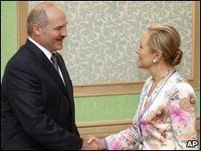 Belarus President Alexander Lukashenko and  EU External Relations chief Benita Ferrero-Waldner