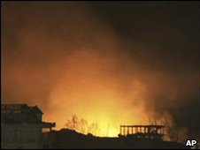 Fire from munitions dump explosions burns overnight in Albania