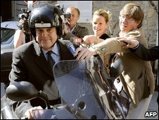 Frederic Mitterrand on scooter