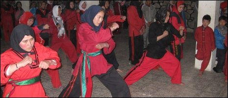 Kung fu training in Kabul