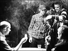 Peter Naylor and Paul Joy (standing left and right) making the music video for Fake Traitors by Kuda