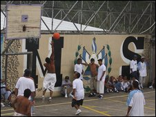 Prisoners playing basketball