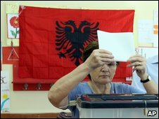 Voter in Tirana, Albania, on 28/6/09