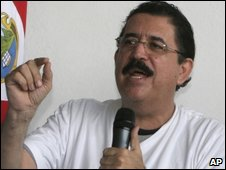 Honduran President Manuel Zelaya in Costa Rica on Sunday 28 June 2009