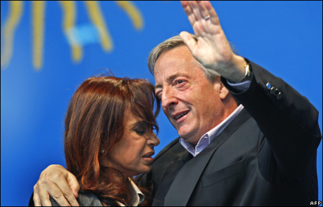 Argentina's first couple in Buenos Aires on 18 June 2008