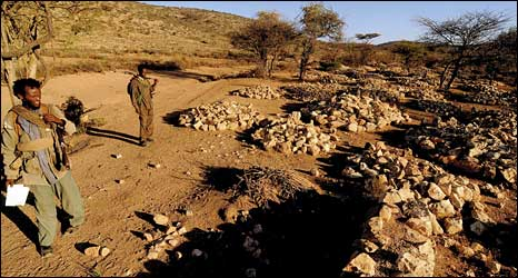 Ethiopian rebels look at alleged mass graves