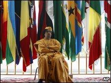 Libyan leader Muammar Gaddafi at the African Union summit in Sirte (1 July 2009)