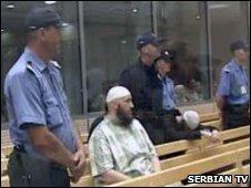 A Muslim defendant on trial in Belgrade (image: Serbian TV)