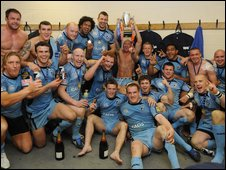 Cardiff Blues celebrate their EDF Energy Cup final win