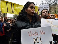 Demonstration by Czech Roma in April 2007
