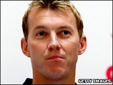Brett Lee at the news conference to announce his absence from the first Ashes Test