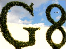 A topiary plant at the Group of Eight (G8) press centre