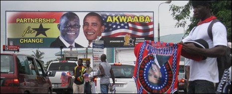 Billboards and hawkwers in Accra