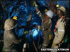 Miners at the platinum mine