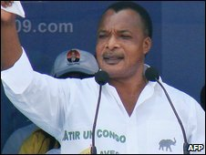 Republic of Congo President Denis Sassou-Nguesso in Brazzaville (10 July 2009)