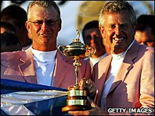 Sandy Lyle and Colin Montgomerie with the Ryder Cup in 2006