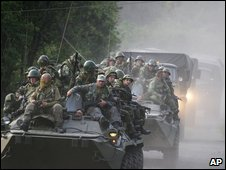 Russian troops on tanks and armoured cars, file photo August 2008