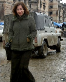 Natalia Estemirova in Grozny, September 2004