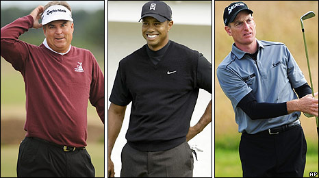 Kenny Perry, Tiger Woods and Jim Furyk