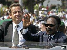Nicolas Sarkozy with Omar Bongo, 2007